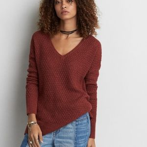 American Eagle vneck knit eggplant sweater